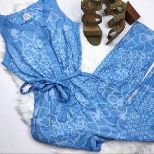 Vintage Jumpsuit - Blue Print w/ Tied Waist